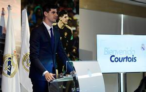 Thibaut Courtois, en la presentación como nuevo futbolista del Madrid.