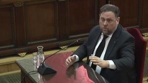 Oriol Junqueras, en la tercera jornada del juicio del 'procés', el pasado 14 de febrero.