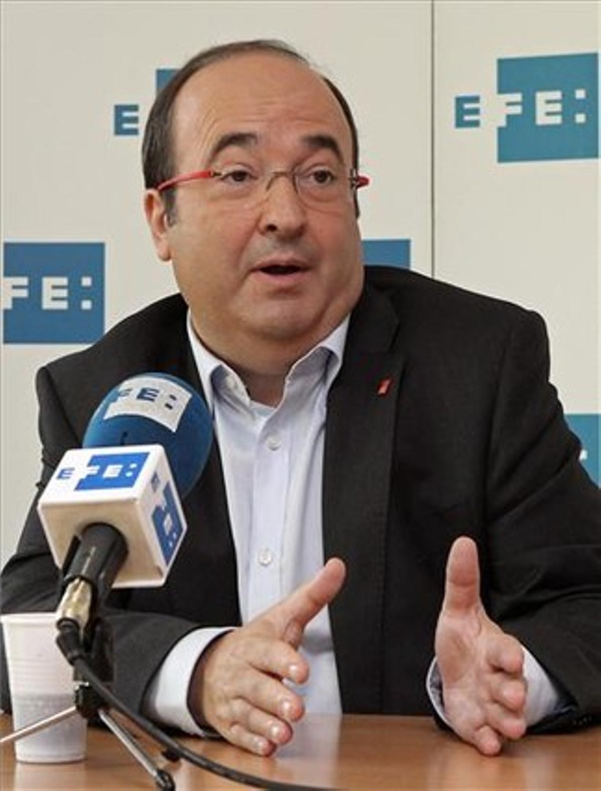 El líder del PSC, Miquel Iceta, durante una entrevista, este sábado.