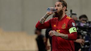 Ramos, antes de salir en los minutos finales del duelo de España ante Kosovo en Sevilla.