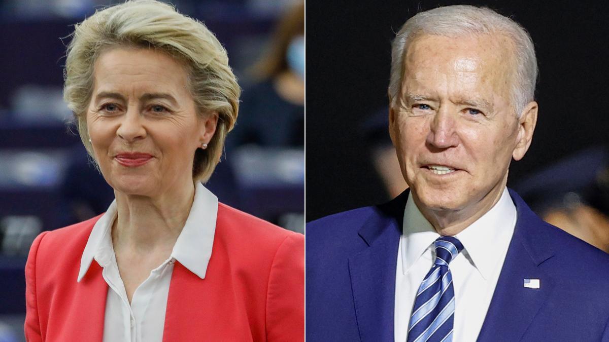 La UE cree necesario investigar el origen de la pandemia del covid-19. En la foto, Ursula von der Leyen y Joe Biden.