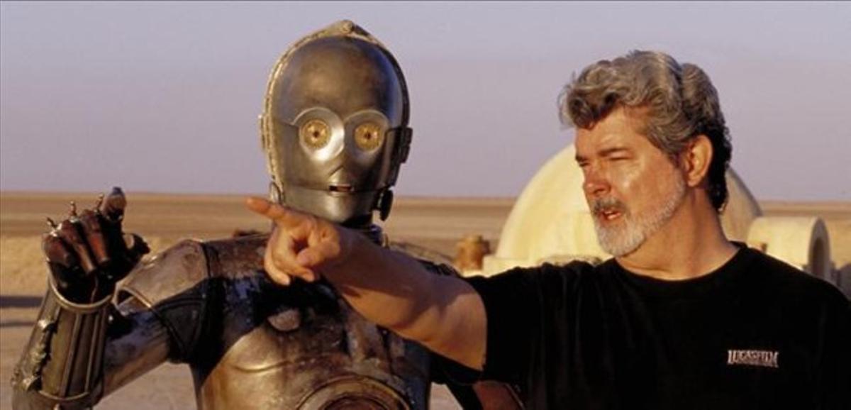 George Lucas, en el rodaje de 'La guerra de las galaxias', en 1977.