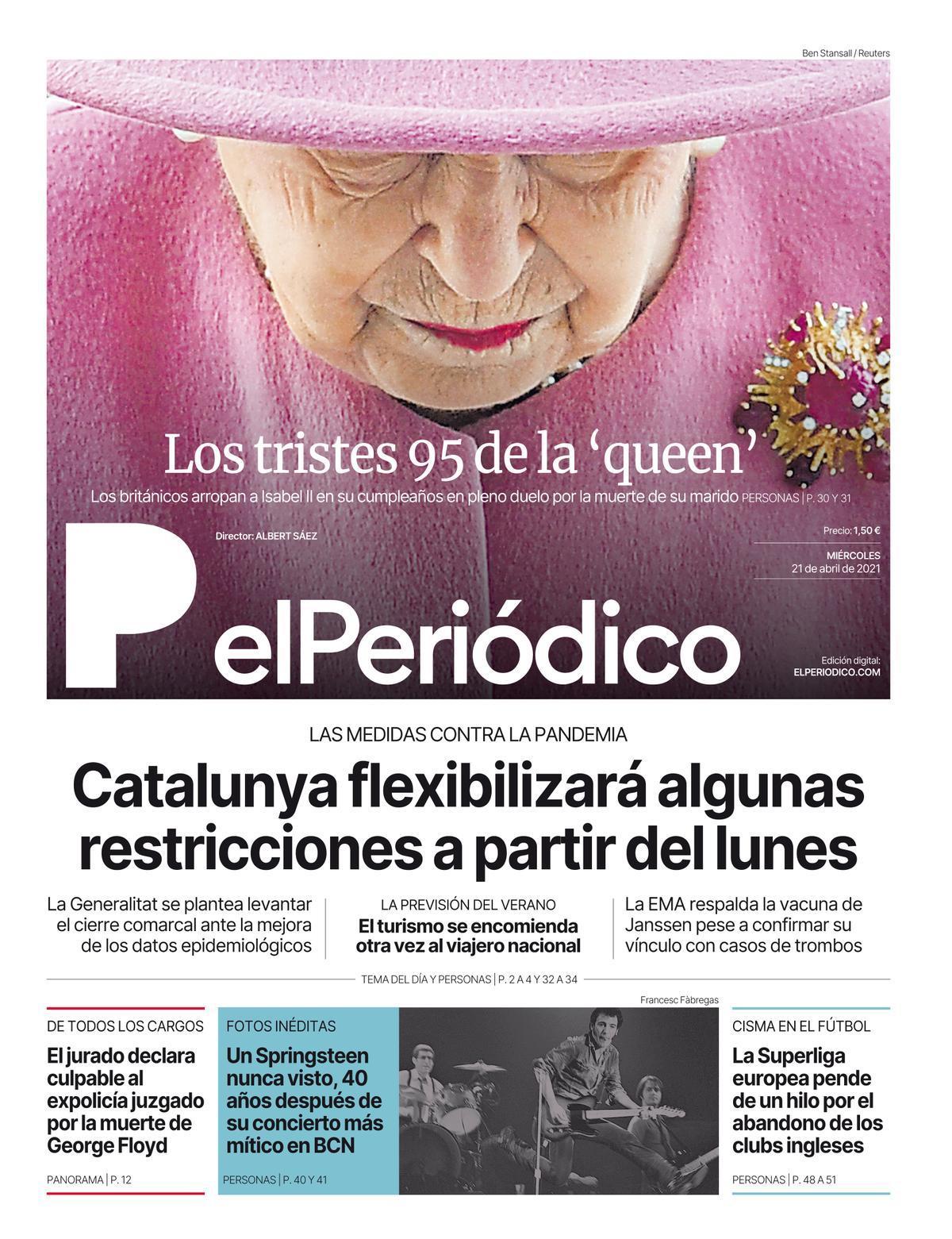 La portada de EL PERIÓDICO del 21 de abril de 2021