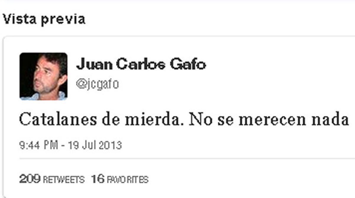 Tuit enviado por Juan Carlos Gafo este viernes, que posteriormente fue borrado.