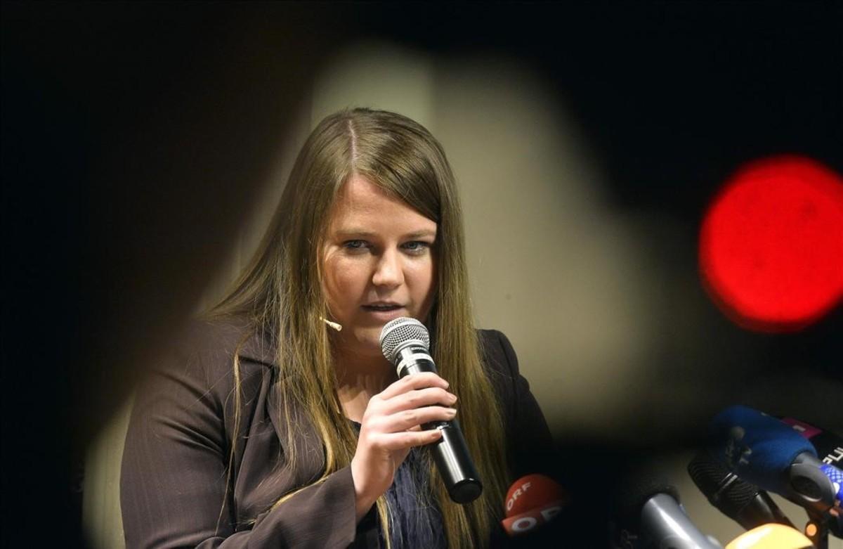 Natascha Kampusch, durante la presentación de su libro.