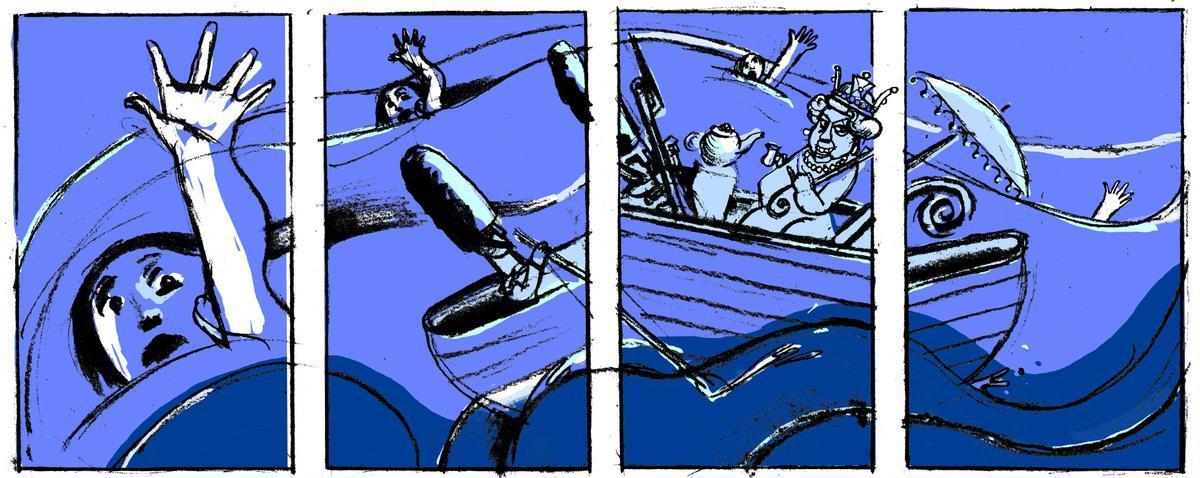 Personas anónimas se ahogan en el océano mientras la reina de Inglaterra navega en un bote