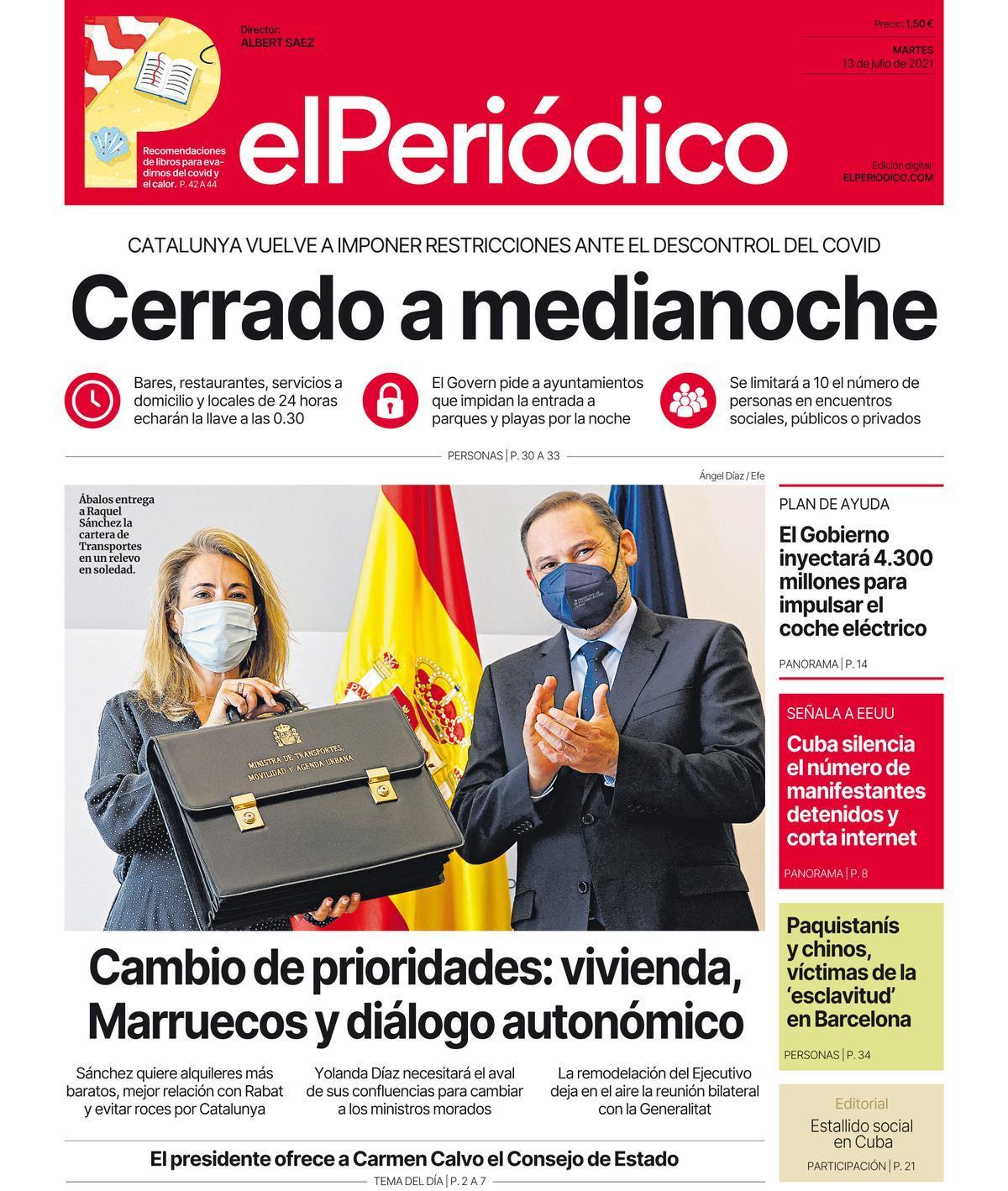 La portada d'EL PERIÓDICO del 13 de juliol del 2021