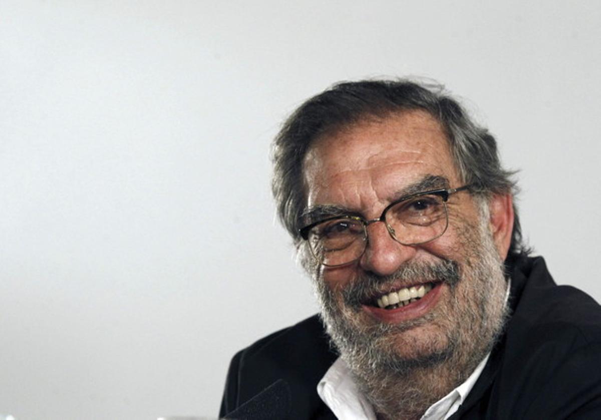 Enrique González Macho durante la rueda de prensa ofrecida tras ser reelegido director de la Academia de Cine.