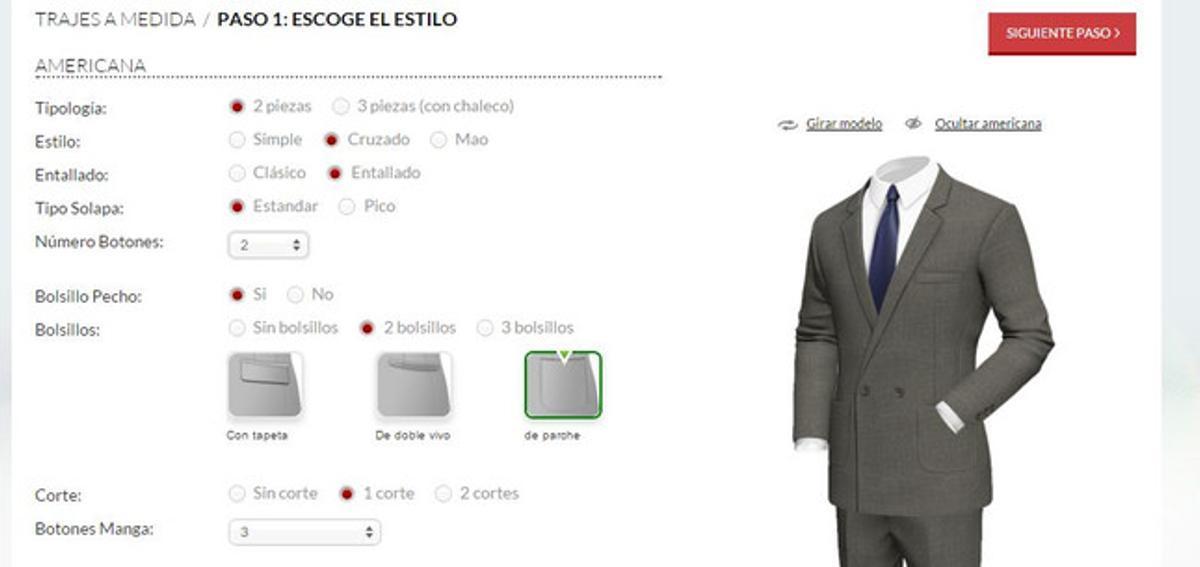 Captura de pantalla del configurador de trajes de la tienda online Tailor 4 less