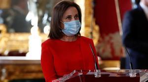 Margarita Robles durante su intervención en la ceremonia de la Pascua Militar en el Palacio Real de Madrid-