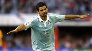Nolito celebra el gol que marcó ante el Barça en la primera vuelta.