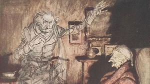 El espectro de Jacob Marley se presenta ante el avaro Scrooge. Ilustración de Arthur Rackham