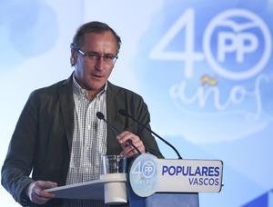 El líder del PP en Euskadi, Alfonso Alonso, en una acto en el 2017.