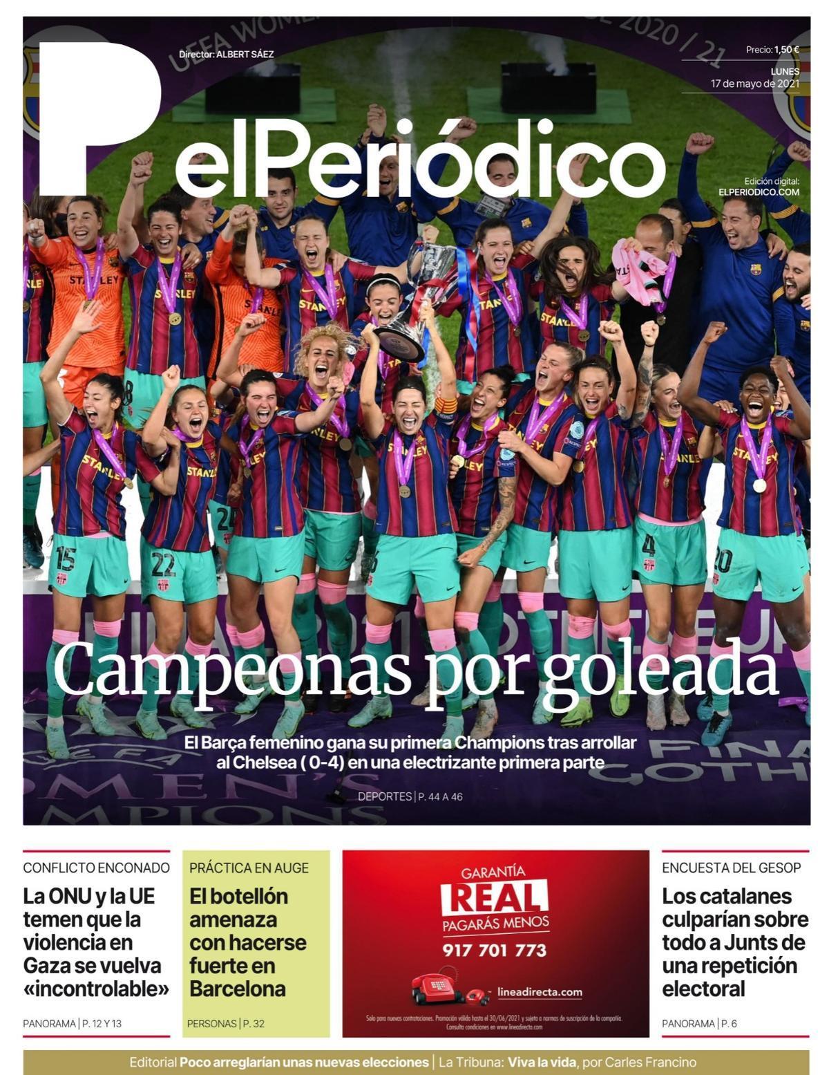 La portada de EL PERIÓDICO del 17 de mayo de 2021.