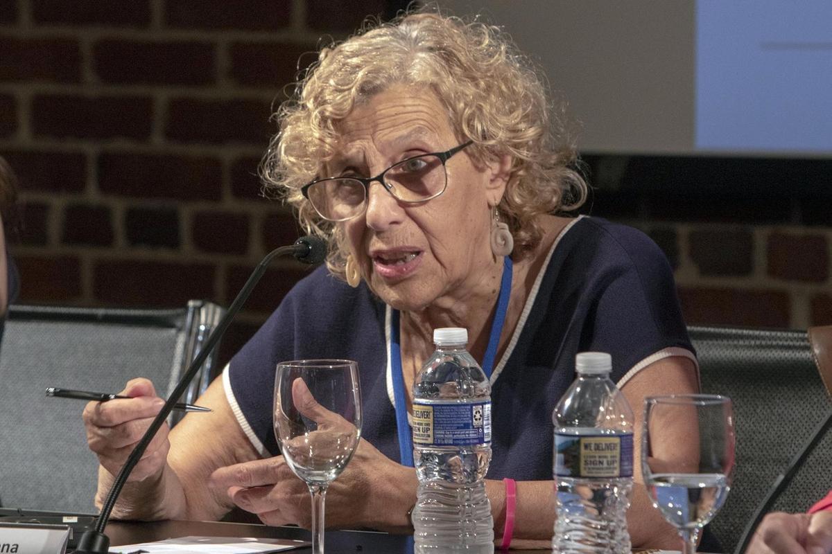 La alcaldesa de Madrid, Manuela Carmena,en el debate sobre las ciudades seguras para las niñas.
