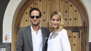La modelo Alba Carrillo y el tenista Feliciano Lopez, en el bautizo de Tristan Pena Gonzalez en Madrid.