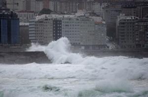 Olas en A Coruña.