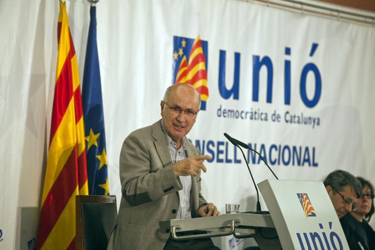 Josep Antoni Duran Lleida, durante el Consell Nacional de Unió, el 1 de diciembre.