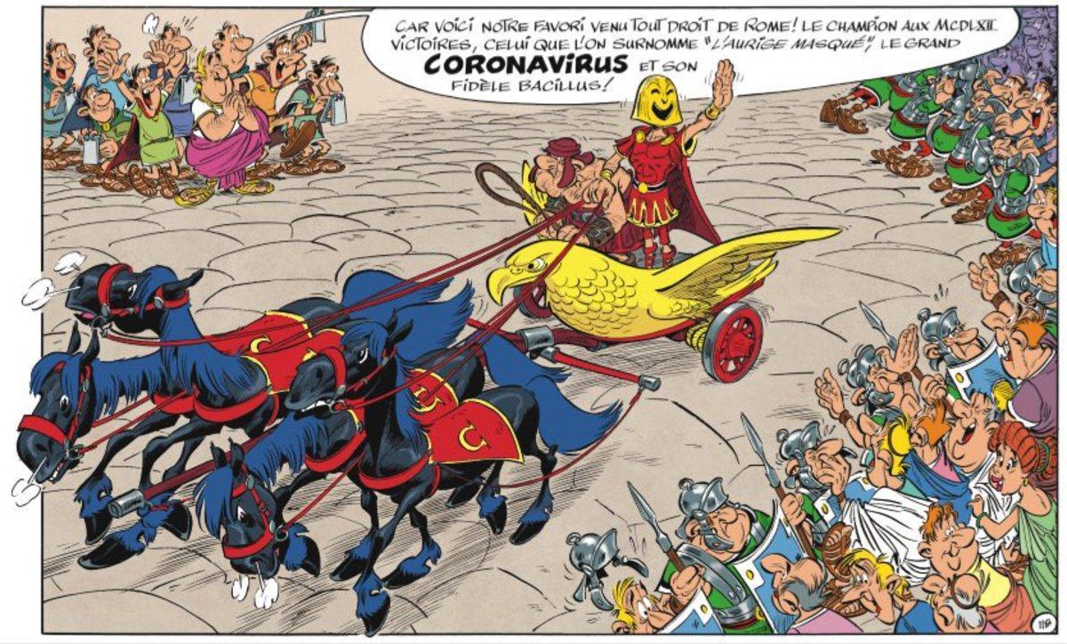 El personaje de Coronavirus, en una viñeta de la edición francesa de 'Astérix en Italia'.