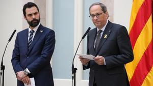 El president del Govern, Quim Torra y el presidente del Parlament, Roger Torrent.