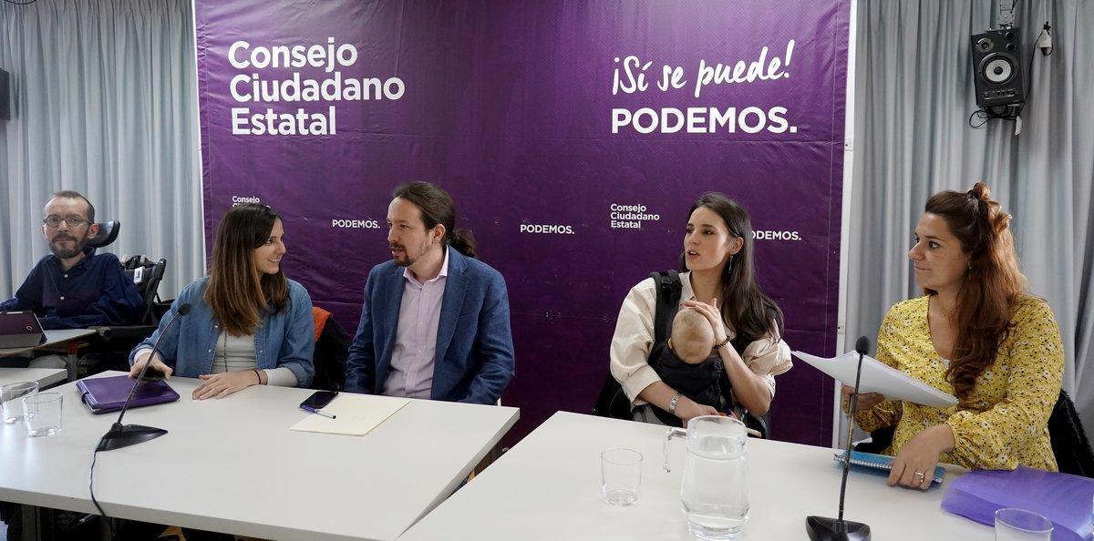 Pablo Iglesias e Irene Montero, junto a Pablo Echenique, Ione Belarra y Noelia Vera.