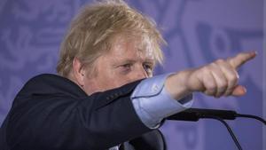 El primer ministro británico, Boris Johnson, durante el discurso que ha pronunciado este lunes.