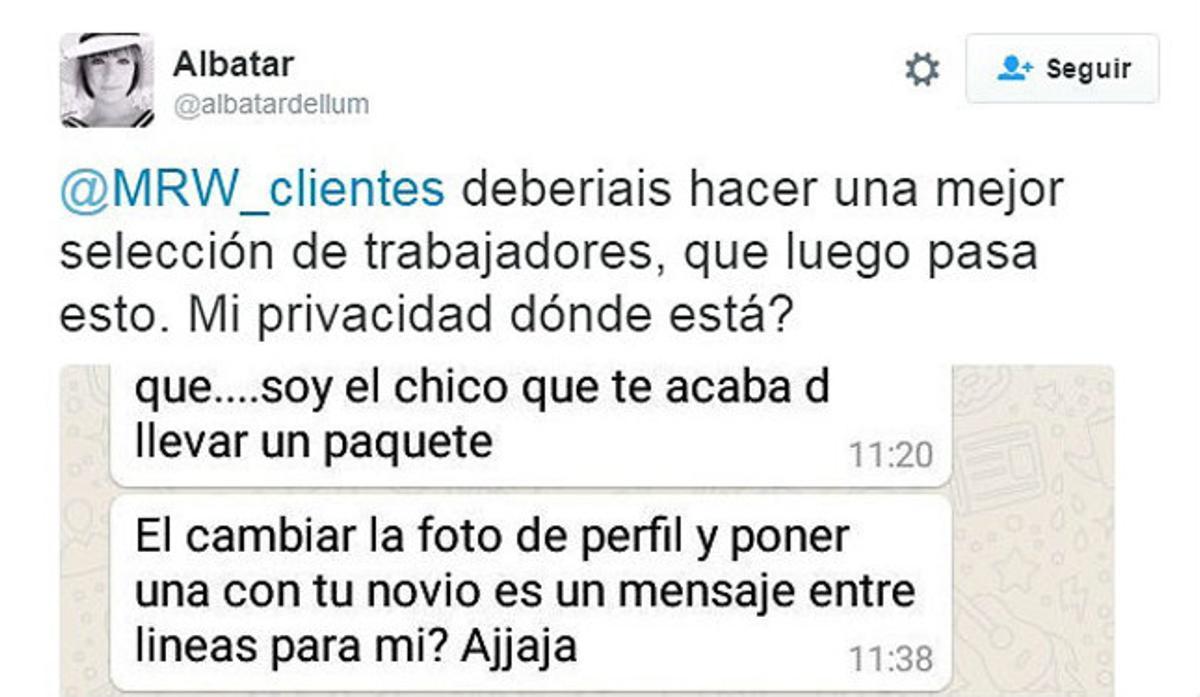 Captura del mensaje de @Albatardellum a MRW en Twitter.