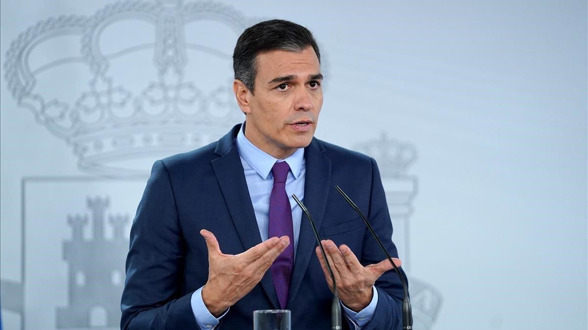 Pedro Sánchez, durante su rueda de prensa posterior al Consejo de Ministros del pasado 4 de agosto.