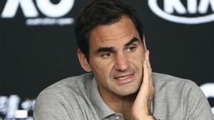 Federer, en rueda de prensa.
