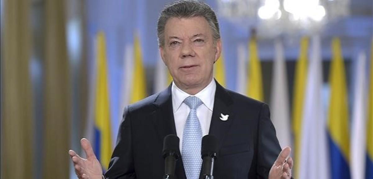 El presidente Juan Manuel Santos, durante su alocución al país sobre el proceso de paz.