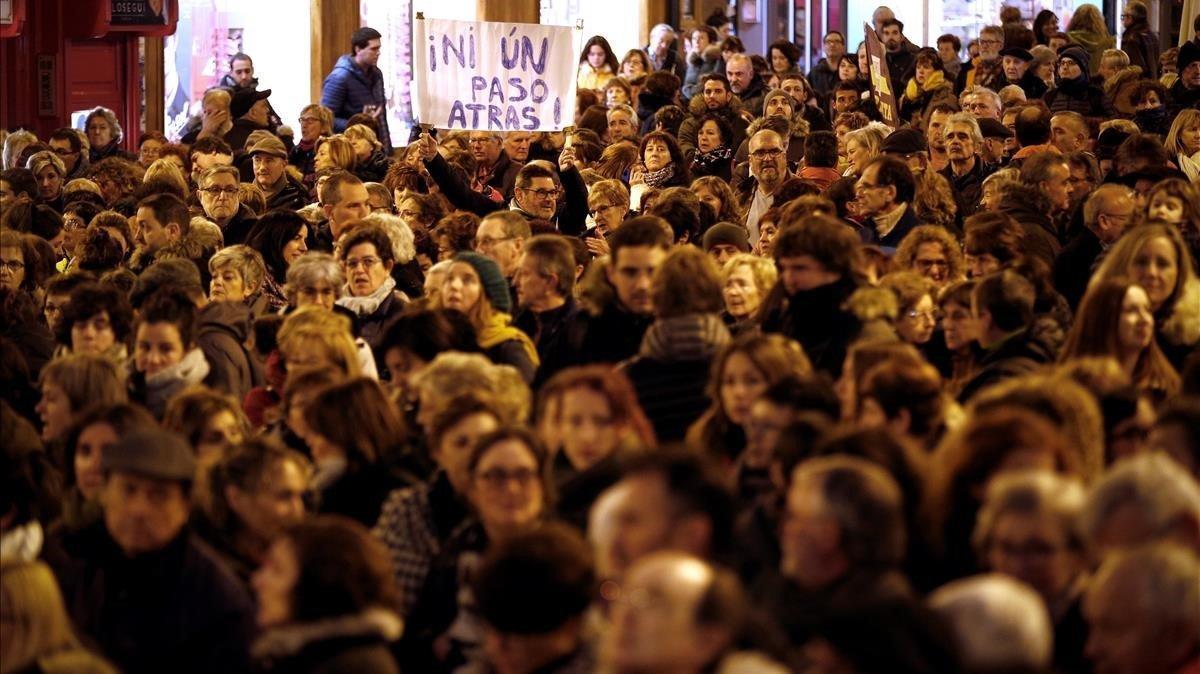 Manifestación feminista convocada en Pamplona, en una imagen de archivo