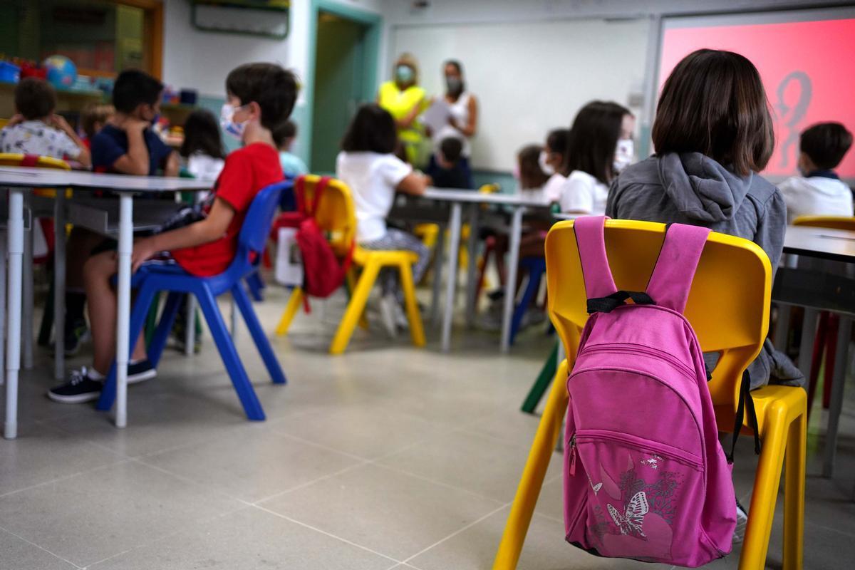 Inicio del curso escolar en el colegio Teresa Berganza de Boadilla del Monte, Madrid.