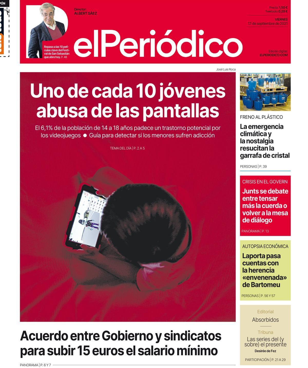 La portada de EL PERIÓDICO del 16 de septiembre del 2021