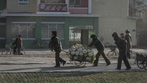 Unos campesinos empujan un carro de repollo en Hamhung, en Corea del Norte.