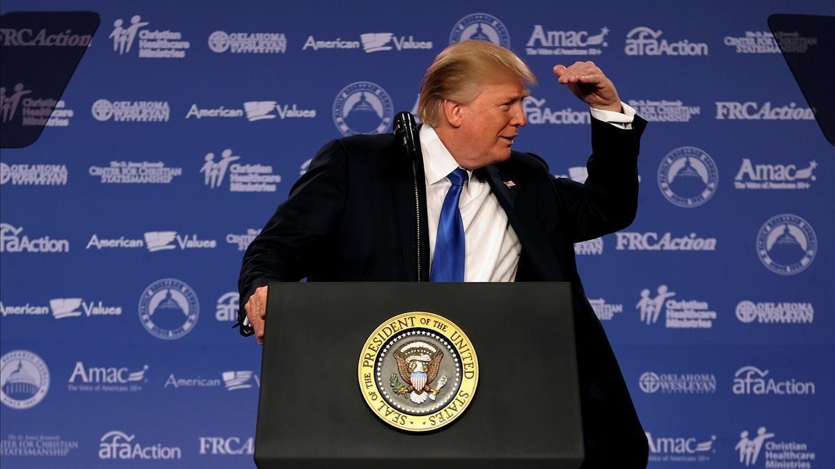 Trump, en un encuentro del Consejo de Investigación Familiar, en Washington, este viernes.