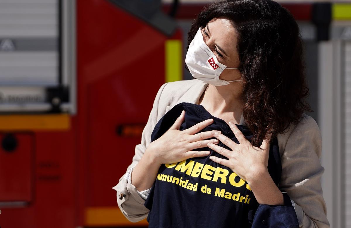 Isabel Díaz Ayuso, presidenta de la Comunidad de Madrid, durante la inauguración del Parque de Bomberos de Alcobendas.