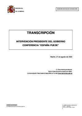 Discurso íntegro de Pedro Sánchez en la conferencia 'España puede'.