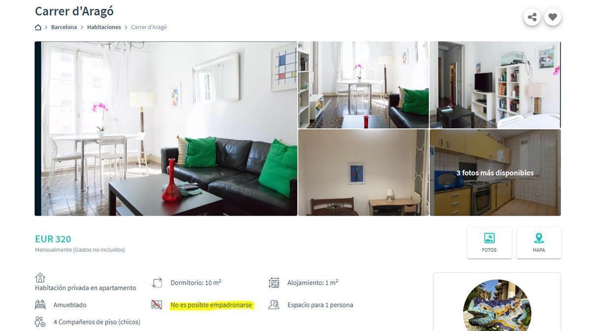 Uno de los anuncios analizados por los técnicos de la Oficina para la No Discriminación de Barcelona que ha detectado más de 800 casos en los que los propietarios de un piso se niegan a empadronar a los inquilinos.