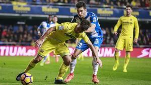 Marc Roca, en un partido del Espanyol contra el Villarreal.