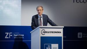 El vicepresidente del Cercle, Jordi Gual, durante la apertura de la segunda jornada del Cercle.