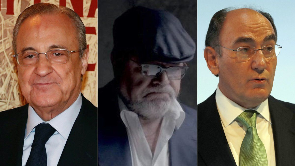 Florentino Pérez, José Manuel Villarejo e Ignacio Sánchez Galán.