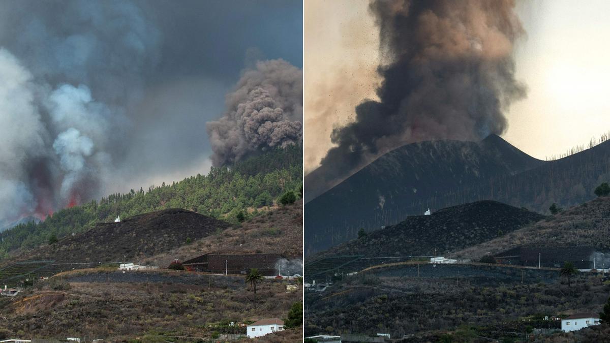 Esta combinación de imágenes creadas el 25 de septiembre de 2021 muestra el volcán Cumbre Vieja el 19 de septiembre de 2021 (izquierda), el día en que entró en erupción, y la misma área fotografiada el 25 de septiembre de 2021 (derecha), como se ve de Los Llanos de Aridane.