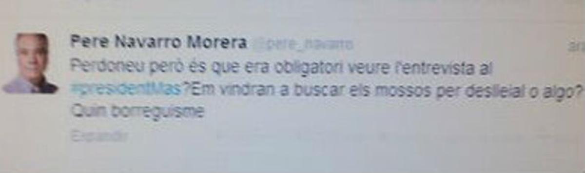 Captura del falso tuit aparecido en la cuenta de Pere Navarro en Twitter.