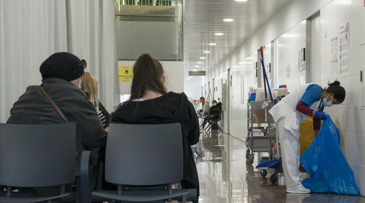 Sala de espera del CAP Masdevall, en Figueres, el pasado viernes.