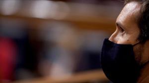 Pablo Casado, este jueves, durante el debate de la moción de censura de Vox a Pedro Sánchez.