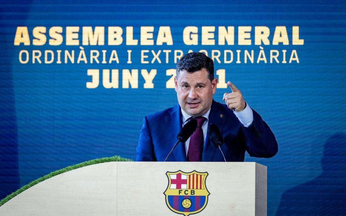 Eduard Romeu, el vicepresidente económico del Barça, en la asamblea de compromisarios en el Camp Nou.