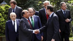 En mayo del 2014 junto a Mariano Rajoy, enun almuerzo con los integrantes del Consejo Empresarial en la Moncloa.
