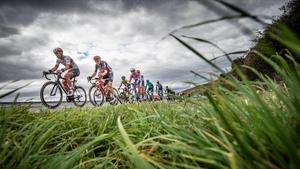 Los ciclistas de la Vuelta, durante la 15ª etapa.