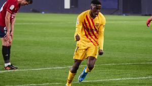 Ilaix celebra su primer gol con el Barça.
