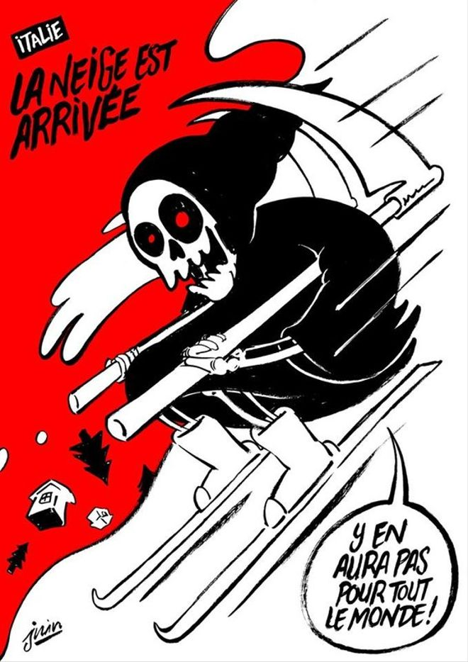 La viñeta de 'Charlie Hebdo' relativa a la avalancha en el hotel Rigopiano, en los Abruzos.